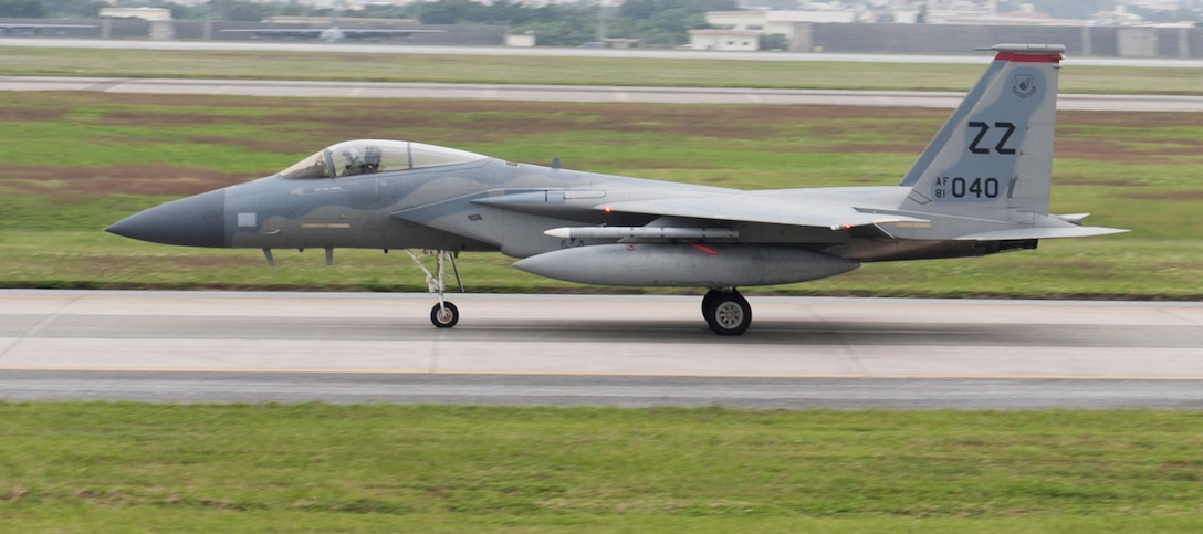 A U.S. Air Force F-15 Eagle from the 67th Fighter Squadron taxies on the runway Dec. 6, 2016, at Kadena Air Base, Japan. The F-15 Eagle is an all-weather tactical fighter capable of maintaining air supremacy in any environment. (U.S. Air Force photo by Senior Airman Lynette M. Rolen/Released)
