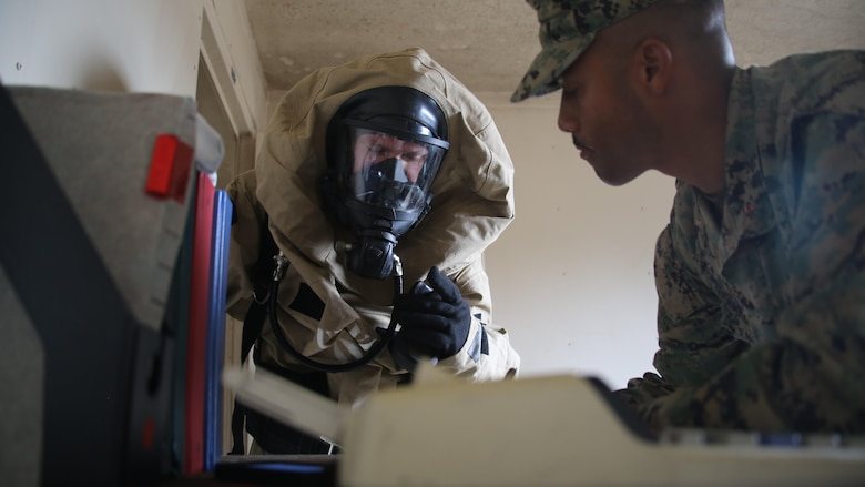 A Marine recalls items in a room to an evaluator during a memory application event as part of a field exercise at Marine Corps Outlying Field Atlantic Nov. 30, 2016. Twenty-two Marines with Chemical, Biological, Radiological and Nuclear Defense, 2nd Marine Aircraft Wing, conducted a week-long annual training exercise that refreshed the defense specialists on the roots of their basic military occupational specialty training. The exercise included an assortment of stations and classes that tested the Marines physically and mentally. (U.S. Marine Corps photo by Lance Cpl. Mackenzie Gibson/Released)