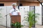 Pacific Fleet Commander Navy Adm. Scott Swift delivers the keynote speech during the USS Oklahoma memorial service on the 75th anniversary of the attacks on Pearl Harbor, Hawaii, Dec. 7, 2016. Navy photo by Petty Officer 2nd Class Brian M. Wilbur