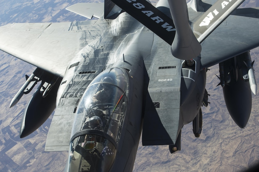 A U.S. Air Force F-15 Strike Eagle receives fuel from a KC-135 Stratotanker in support of a Combined Joint Task Force - Operation Inherent Resolve mission over Iraq Dec. 7, 2016. The KC-135 provides aerial refueling capabilities for the CJTF as it supports the Iraqi Security Forces and the partnered forces in Syria as they work to liberate territory and people under the control of Da'esh. (U.S. Air Force photo by Staff Sgt. Matthew B. Fredericks)