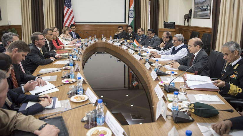 Defense Secretary Ash Carter meets with Indian Defense Minister Manohar Parrikar in New Delhi, Dec. 8, 2016. Carter is on a round-the-world trip to thank service members, meet with allies and advance DoD priorities.