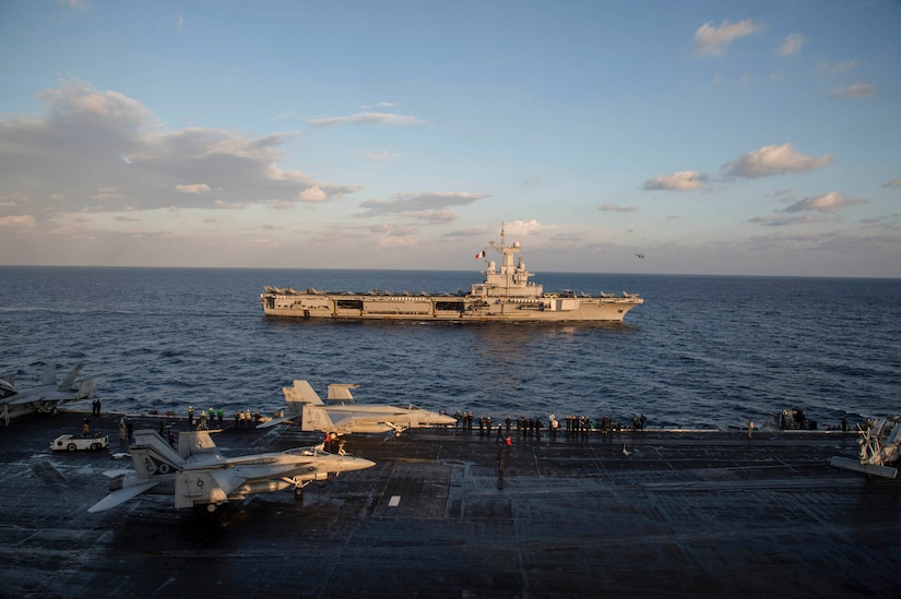 161206-N-QI061-029 MEDITERRANEAN SEA (Dec. 6, 2016) Aircraft carrier USS Dwight D. Eisenhower (CVN 69) transits the Mediterranean Sea alongside aircraft carrier FS Charles De Gaulle (R91). Eisenhower, currently deployed as part of the Eisenhower Carrier Strike Group, is conducting naval operations in the U.S. 6th Fleet area of operations in support of U.S. national security interests in Europe. (U.S. Navy photo by Petty Officer 3rd Class Nathan T. Beard/Released)