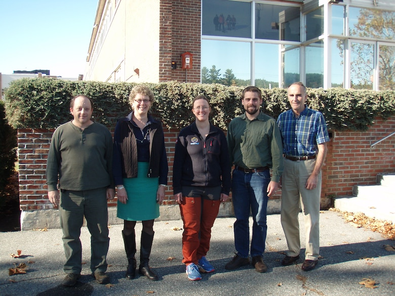 Polar sea ice researchers from the Engineer Research and Development Center's Cold Regions Research and Engineering Laboratory pose for a group photo with visitor Anja Rösel, Norwegian Polar Institute, (l to r) Bruce Elder, Dr. Jackie Richter-Menge, Anja Rösel, Dr. Chris Polashenski and Dr. Don Perovich.