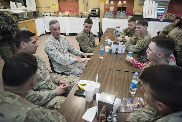 Marine Gen. Joseph F. Dunford, Jr., chairman of the Joint Chiefs of Staff, meets with service members during a troop engagement at Forward Operation Base Gamberi, Afghanistan, Dec. 7, 2016. Marine Gen. Joseph F. Dunford, Jr., chairman of the Joint Chiefs of Staff, along with USO entertainers, visited service members who are deployed from home during the holidays at various locations across the globe.  This year's entertainers included actors Chris Evans, actress Scarlett Johansson, NBA Legend Ray Allen, 4-time Olympic Medalist Maya DiRado, Country Music Singer Craig Campbell, and mentalist Jim Karol. (DoD photo by Navy Petty Officer 2nd Class Dominique A. Pineiro)