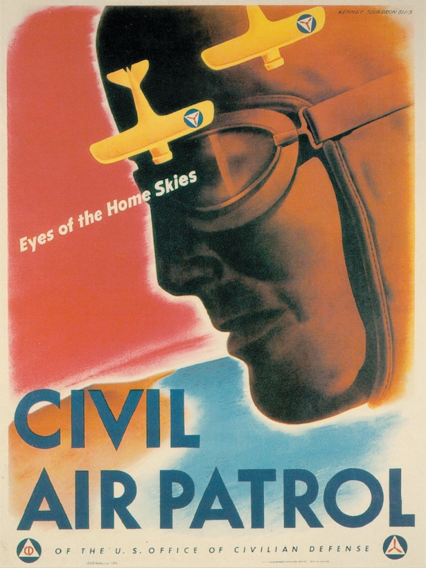 "This iconic 1943 recruitment poster for Civil Air Patrol — famously touting CAP as the ""Eyes of the Home Skies"" — was designed by V. Clayton Kenney of Cleveland, a member of CAP Squadron 511-3 in Chagrin Falls, Ohio."