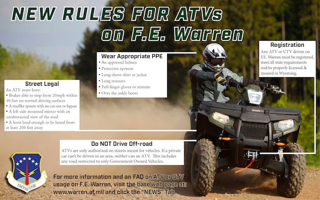 New rules for ATVs on F. E. Warren (U.S. Air Force graphic design by Glenn Robertson).