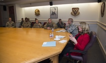 Secretary of the Air Force Deborah Lee James and Lt. Gen. Jack Weinstein, Deputy Chief of Staff for strategic deterrence and nuclear integration, address missile maintainers, security forces members and mission support Airmen during a round-table discussion at F.E. Warren Air Force Base, Wyo., Dec. 8, 2016. The discussions were held to see what was on the Airmen's minds and how the Air Force could be improved. (U.S. Air Force photo by Staff Sgt. Christopher Ruano)