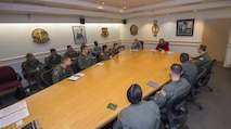 Secretary of the Air Force Deborah Lee James and Lt. Gen. Jack Weinstein, Deputy Chief of Staff for strategic deterrence and nuclear integration, address missile combat crew members and Airmen from the 90th Operations Group during a round-table discussions at F.E. Warren Air Force Base, Wyo., Dec. 8, 2016. The SecAF emphasized that the ICBM mission remains critical and relevant to the nation's strategic defense. (U.S. Air Force photo by Staff Sgt. Christopher Ruano)