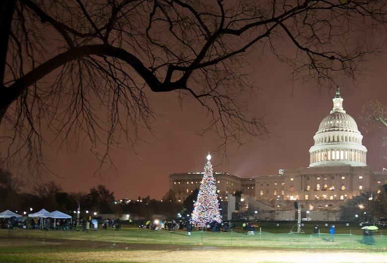 The U.S. Capitol Christmas Tree is lit during a ceremony while the U.S. Air Force Ceremonial Brass Band performs several classic Christmas standards on the Capitol's West Front Lawn, Washington D.C., Dec. 6, 2016. The U.S. Capitol Christmas Tree will remain lit from nightfall until 11 p.m. each evening through December 25, 2016.