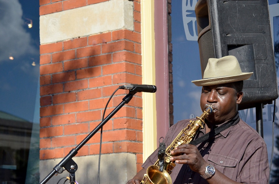 Lt. Col. Christopher Afful plays his saxophone during a recent gig in Macon, Georgia. As a Citizen Airman, Afful is the chief of the Agile Combat Support Branch within the Force Generation Center's Forces Division at Headquarters Air Force Reserve Command, Robins Air Force Base, Georgia. (Courtesy photo)