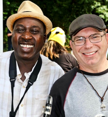 Lt. Col. Christopher Afful, left, and Chief Master Sgt. Dan Kelly both work at Headquarters Air Force Reserve Command at Robins Air Force Base, Georgia, and are both active in the Middle Georgia music scene. They play together in the band Barrelhouse. (Courtesy photo)