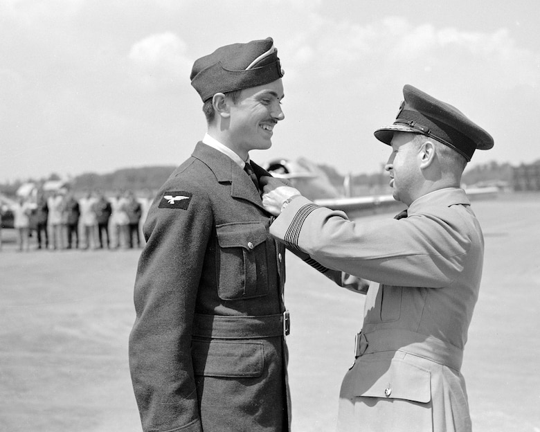 Royal Canadian Air Force Pilot Officer John Gillespie Magee Jr., a United States citizen, gets his pilot wings in June 1941. After completing his training, Magee was stationed at Royal Air Force Digby, England. (Courtesy photo Royal Canadian Air Force website)
