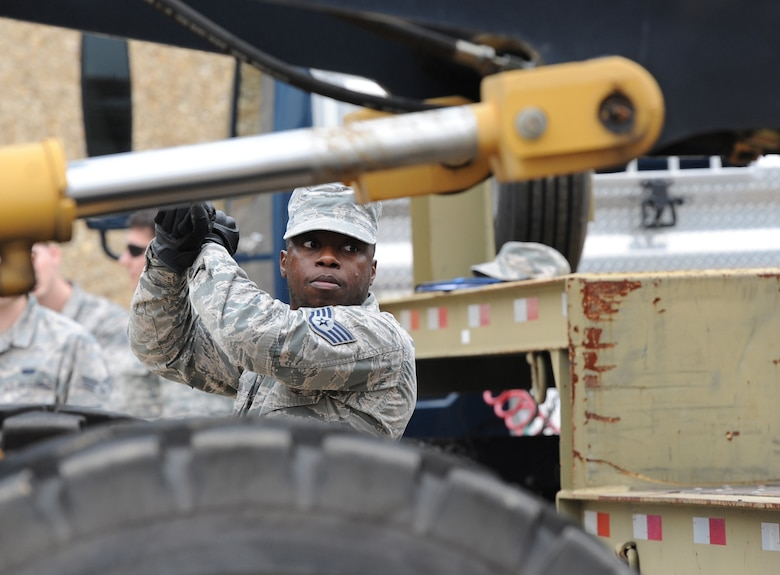Staff Sgt. Junior Avilma, 81st Logistics Readiness Squadron vehicle operator, provides direction to a forklift operator at the supply warehouse loading docks during a deployment exercise Dec. 7, 2016, on Keesler Air Force Base, Miss. The exercise scenario tested the mission readiness of Team Keesler for simultaneous world-wide deployments. (U.S. Air Force photo by Kemberly Groue)