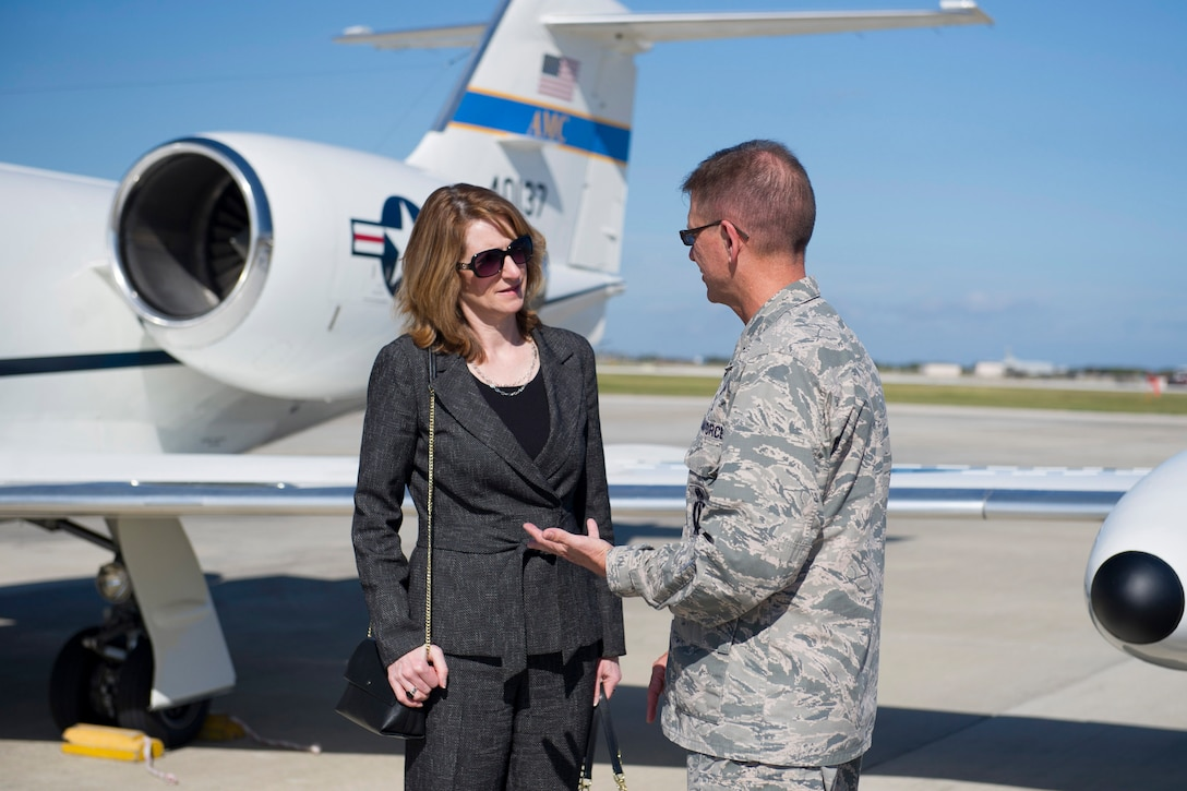 Brig. Gen. Wayne Monteith, 45th Space Wing commander, greets Under Secretary of the Air Force Lisa S. Disbrow at Patrick AFB, Fla. Dec. 7, 2016. Disbrow visited the 45th Space Wing to learn more about the Airmen who provide assured access to space.