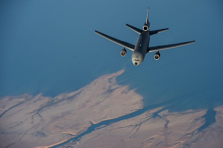 A KC-10 Extender from the 380th Expeditionary Air Refueling Squadron flies over Southwest Asia in support of Operation Inherent Resolve Dec. 9, 2015. OIR is the coalition intervention against the Islamic State of Iraq and the Levant. (U.S. Air Force photo/Tech. Sgt. Nathan Lipscomb)