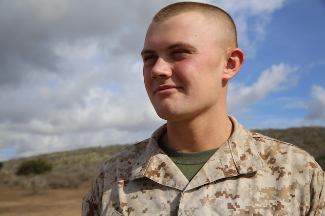 Recruit Seth Steele, Golf Company, 2nd Recruit Training Battalion, stands at attention at Marine Corps Base Camp Pendleton, Calif., Nov. 28. Steele served as a squad leader in Platoon 2150 after going through trial training. Annually, more than 17,000 males recruited from the Western Recruiting Region are trained at MCRD San Diego. Golf company is scheduled to graduate Dec. 9.