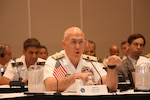 Navy Adm. Kurt W. Tidd, commander of U.S. Southern Command, speaks to panelists about countering transnational networks during the 15th Caribbean Nations Security Conference in San Juan, Puerto Rico, Dec. 7, 2016. Southcom photo by Jose Ruiz