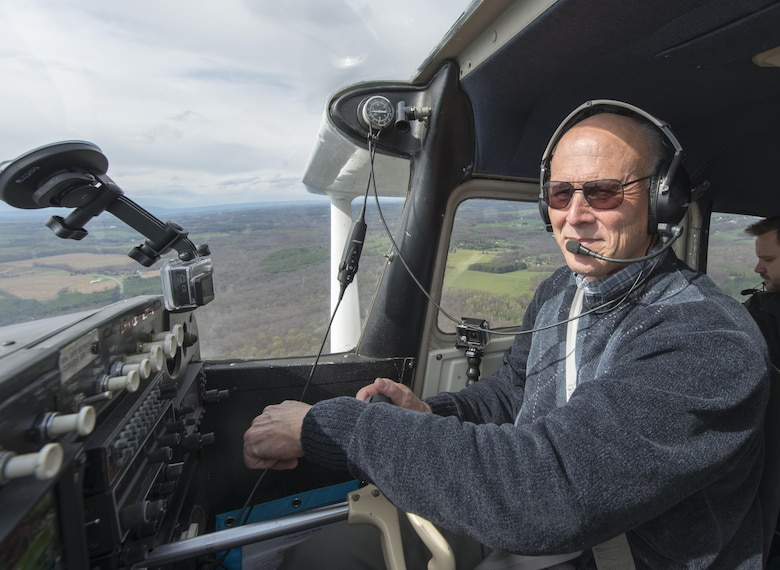 Retired Col. Pete Mapes, a pilot-physician, demonstrates a ground collision avoidance system he installed on his Cessna aircraft during a flight over Maryland, April 7, 2016. Mapes was instrumental to the employment the Automatic  Ground Collision Avoidance System in F-16 fighter jets across the Air Force. (U.S. Air Force photo/Master Sgt. Brian Ferguson)