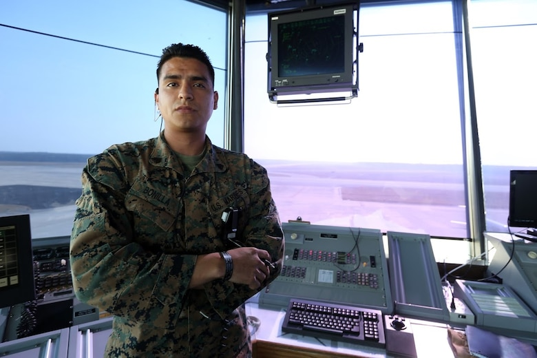 Sgt. Benjamin Bonilla is an approach controller assigned to Marine Air Control Squadron 2, Marine Air Control Group 28, 2nd Marine Aircraft Wing at Marine Corps Air Station Cherry Point, N.C. He has successfully completed all the training required as an approach controller and moved on to completing certifications for other sections of air traffic control within the Marine Corps.  Air traffic controllers are given approximately 12 years to become proficient and certified in all ATC elements, but Bonilla has completed his training in only four years while aboard the air station. (U.S. Marine Corps photo by Sgt. N.W. Huertas/ Released)