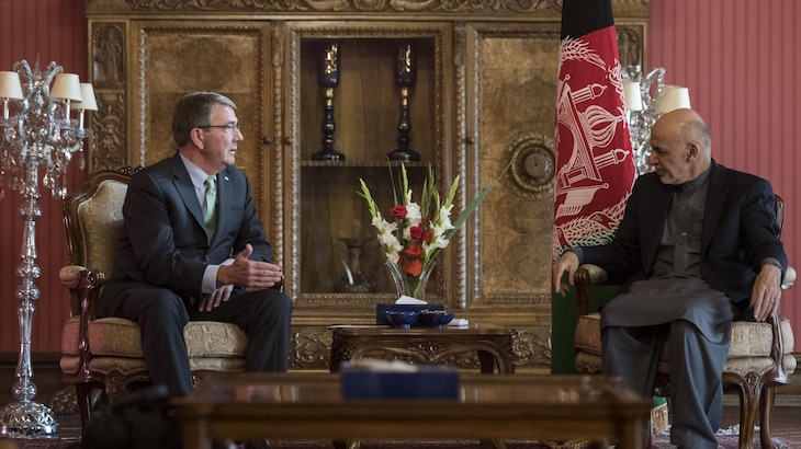 Defense Secretary Ash Carter meets with Afghan President Ashraf Ghani during a visit to Afghanistan. Carter also greeted U.S. troops and met with commanders. Carter is on a trip to advance DoD priorities.