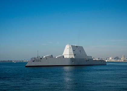 SAN DIEGO (Dec. 8, 2016) — The Navy's most technologically advanced surface ship, USS Zumwalt (DDG 1000), steams through San Diego Bay after the final leg of her three-month journey en route to her new homeport in San Diego. Zumwalt will now begin installation of combat systems, testing and evaluation and operation integration with the fleet. (U.S. Navy Photo by Petty Officer 2nd Class Zachary Bell/Released)