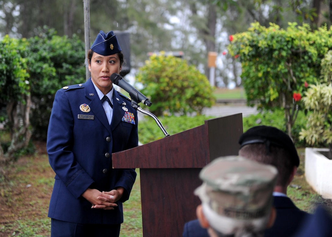 Maj. Jomia Blas, the commander of the 18th Force Support Squadron Det. 2, gives closing remarks following a ceremony commemorating service members honored for their bravery during the Dec. 7th attack on Pearl Harbor and Oahu at Bellows Air Force Station, Hawaii, Dec. 8th, 2016. Approximately 100 people, including family members of several honored veterans, came together in recognizing the bravery displayed on the day of the attacks. (U.S. Air Force photo by Staff Sgt. Alexander Martinez)