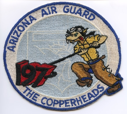 The original patch of the 197th Fighter Squadron, which later became the 161st Air Refueling Wing.