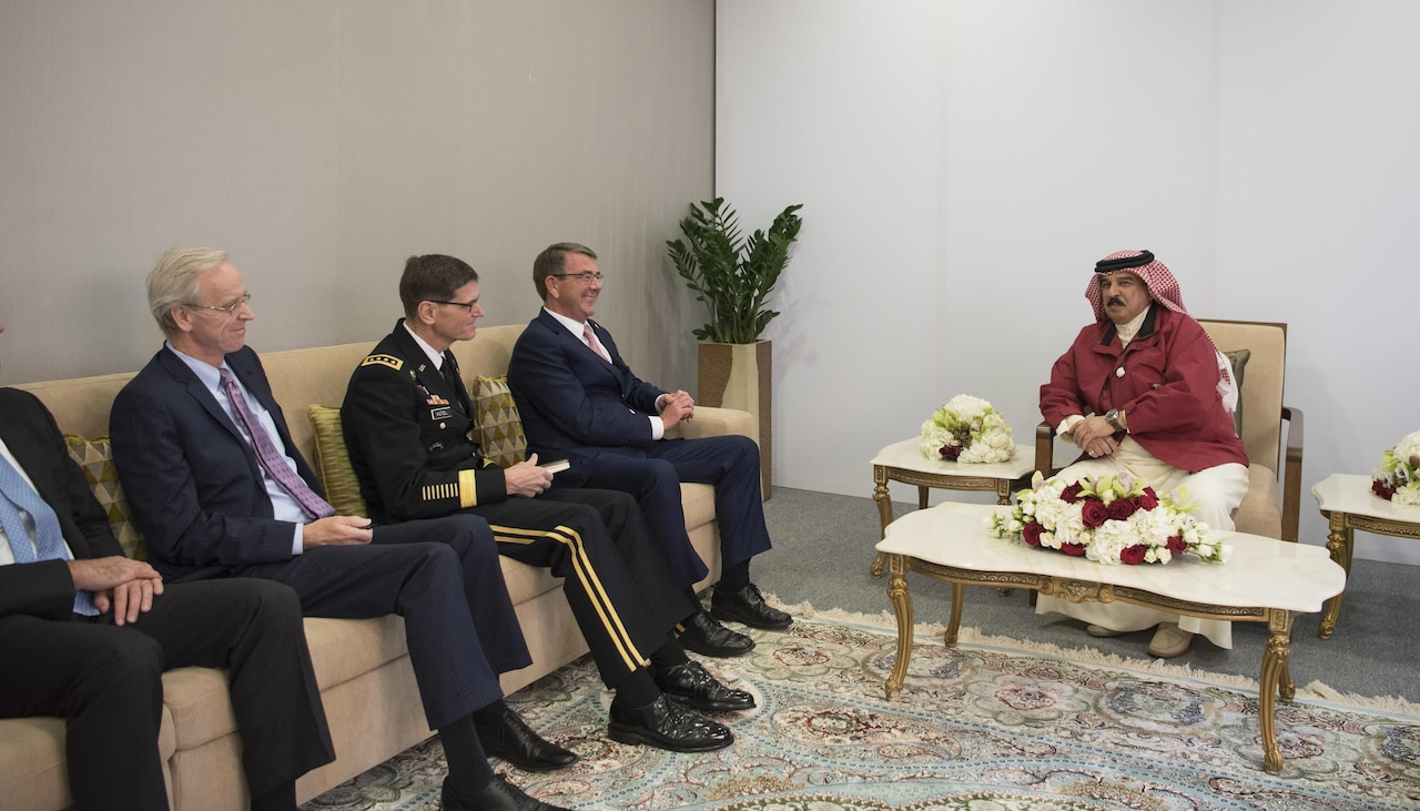 Defense Secretary Ash Carter and Army Gen. Joseph Votel, U.S. Central Command commander, meet with Bahrain's King Hamad bin Isa Al Khalifa in Manama, Bahrain, Dec. 10, 2016. DOD photo by Air Force Tech. Sgt. Brigitte N. Brantley