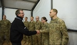 Defense Secretary Ash Carter thanks U.S. soldiers in Iraq for their service at Q-West airfield, a key strategic staging area in the fight to liberate the Iraqi city of Mosul from Islamic State of Iraq and the Levant terrorists, Dec. 11, 2016. Earlier in the day, Carter met with Iraqi Prime Minister‎ Haider al-Abadi in Baghdad, where the two leaders discussed the Mosul campaign and other issues. DoD photo