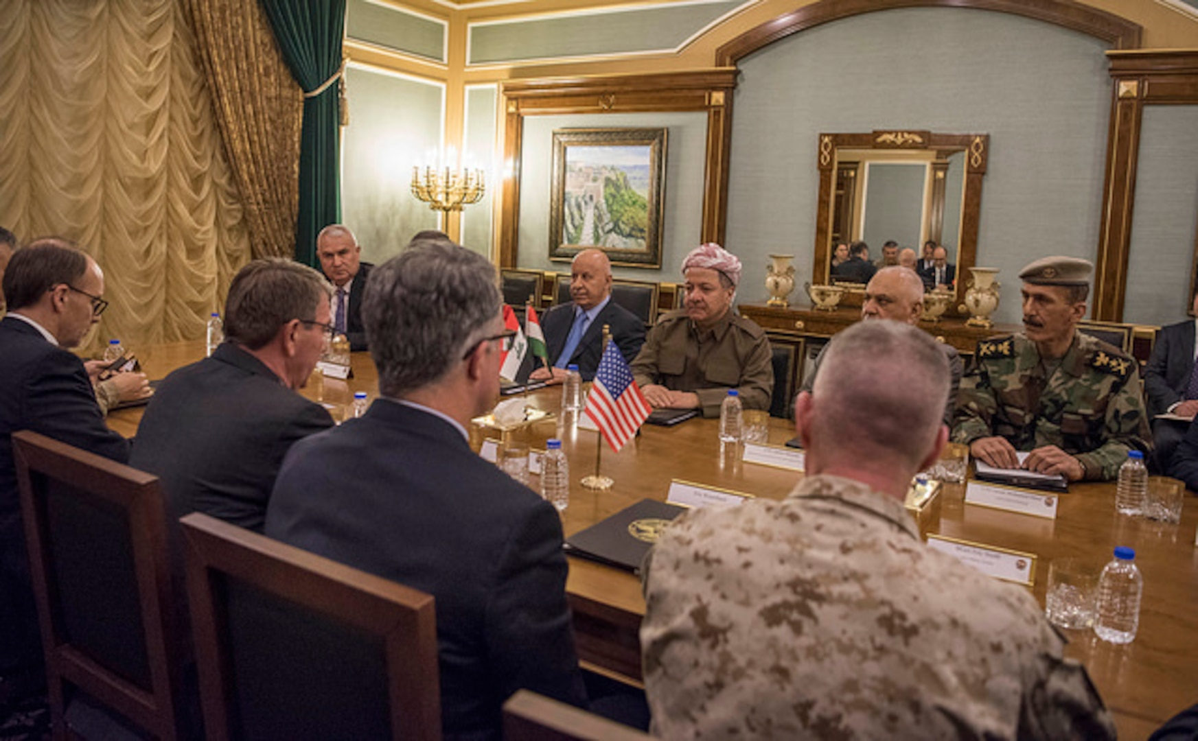 Defense Secretary Ash Carter and Kurdistan Regional Government President Masoud Barzani meet in Irbil, Iraq, Dec. 11, 2016. DoD photo by Air Force Tech. Sgt. Brigitte N. Brantley