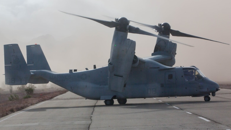 An MV-22B Osprey with the 3rd Marine Aircraft Wing lands at Marine Corps Air Station Yuma, Ariz., during exercise Seahorse Wind on Dec. 6. Exercise Seahorse Wind was a long-range raid exercise conducted by over 600 Marines with the 3rd Marine Aircraft Wing and the 1st Marine Division.