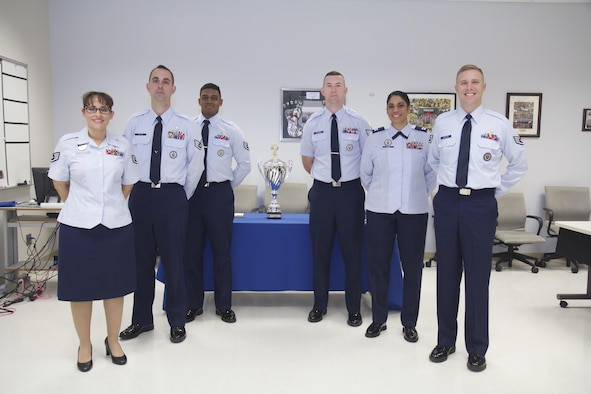 Two teams participated in the third annual SAM-Tastic instructional excellence competition at the 711th Human Performance Wing's U.S. Air Force School of Aerospace Medicine. Left to right are: Staff Sgt. Christopher Cameron, Staff Sgt. Jonathan Cavier and Staff Sgt. Barbara Rucker, USAFSAM Occupational and Environmental Health Department instructors, and Staff Sgt. Jeremy Davidson, Capt. Jessica Zerbe and Staff Sgt. Joshua Andersen, USAFSAM Public Health and Preventive Medicine Department instructors. (U. S. Air Force photo/David Snedigar)