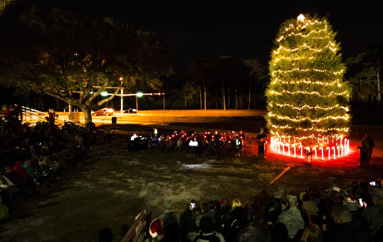 the bases christmas tree was lit up in a small chilly ceremony dec 9