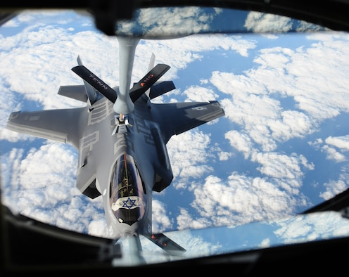 "An Israeli F-35 ""Adir"" receives fuel from a Tennessee Air National Guard KC-135 as the aircraft make the flight across the Atlantic, Dec, 6, 2016. The U.S.-made F-35s will be Israel's first fifth generation fighter aircraft and were refueled multiple times while en route to ensure their safe delivery to Israel. (U.S. Air Force photo by 1st Lt. Erik D. Anthony)"