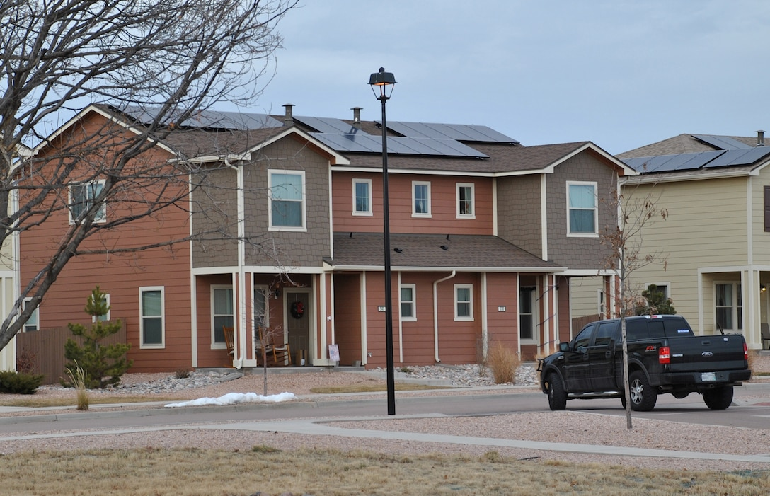 Housing at Peterson Air Force Base, Colorado, features rooftop solar panels. The homes are part of the Air Force Housing Privatization program portfolio. The Air Force Civil Engineer Center manages the program. (U.S. Air Force photo/Carole Chiles Fuller)