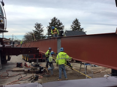 On Friday December 12th, crews finished placement of the six 150 foot main beams of the new Delaware City Bridge. Construction is expected to be complete in February 2017. The U.S. Army Corps of Engineers' Philadelphia District and its contractor began demolition of the Route 9 bridge at Delaware City in October of 2016 and is now in the construction phase of bridge replacement (Photo by Tim Boyle).