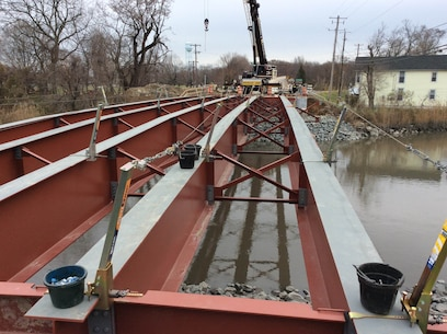 On Friday December 12th, crews finished placement of the six 150 foot main beams of the new Delaware City Bridge. The U.S. Army Corps of Engineers' Philadelphia District and its contractor began demolition of the Route 9 bridge at Delaware City in October of 2016 and is now in the construction phase of bridge replacement (Photo by Tim Boyle).