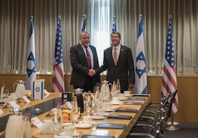 Secretary of Defense Ash Carter meets with Israeli Defense Minister Avigdor Lieberman in Tel Aviv, Israel, Dec. 12, 2016. DoD photo by Air Force Tech. Sgt. Brigitte N. Brantley