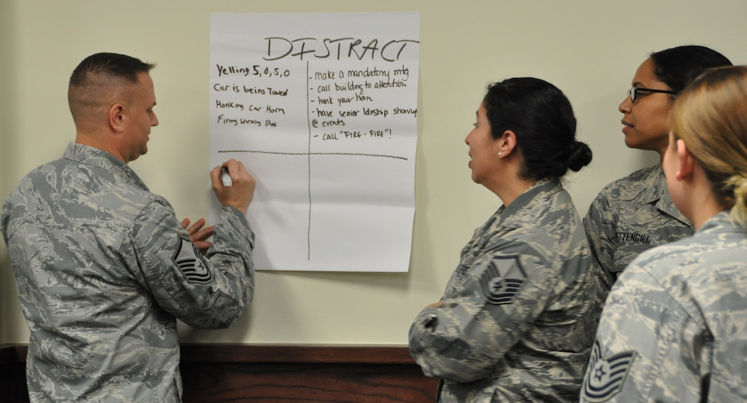 Master Sgt. Jeffrey Madison, Master Sgt. Vianca Contreras, Master Sgt. Tainell and Tech. Sgt.  Corrin Pardaen  jots down suggestions to distract someone who appears intent on causing harm to another person during a Green Dot exercise at the Group's MUTA held Dec. 1-2 at Joint Base San Antonio-Randolph, Texas (Photo by Janis El Shabazz).