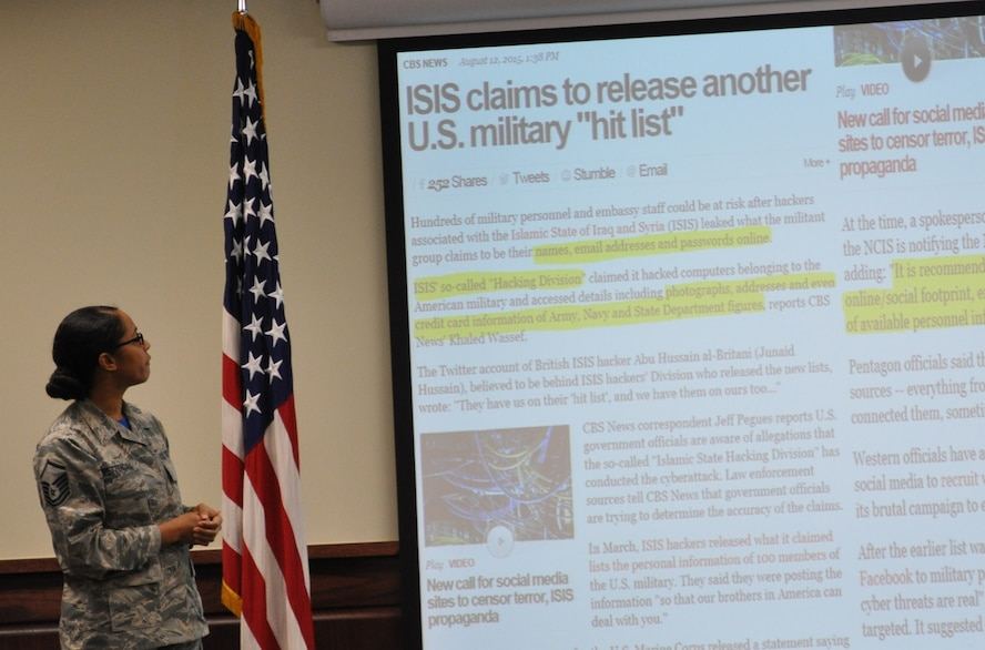 Master Sgt. Tainell Pettengill, presents a brief on cyber awareness during the 340 Flying Training Group's Dec. 1 MUTA at Joint Base San Antonio-Randolph, Texas (Photo by Janis El Shabazz).