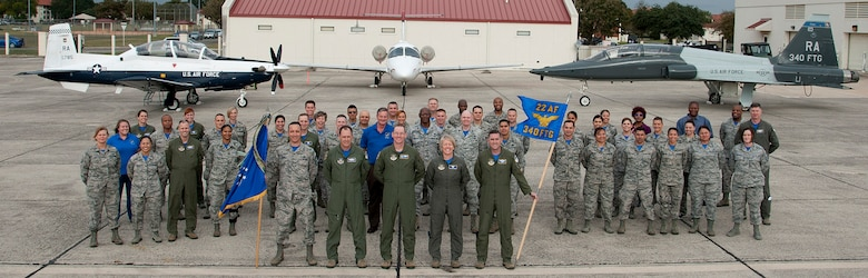 Members of the 340th FTG gather for a  group photo during the Group's MUTA held Dec. 1-2 at Joint Base San Antonio-Randolph, Texas (Photo by Joel Martinez, 502nd ABW Public Affairs).