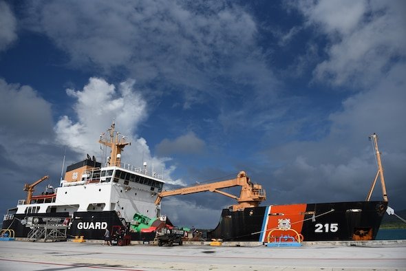 The U.S. Coast Guard Cutter Sequoia rests in port at Apra Harbor, Nov. 22, 2016, at Naval Base Guam. The crew of the Sequoia participated in Operation Christmas Drop 2016 by delivering tools, toys, food and water to islands throughout the Pacific. (U.S. Air Force photo by Airman 1st Class Jacob Skovo)