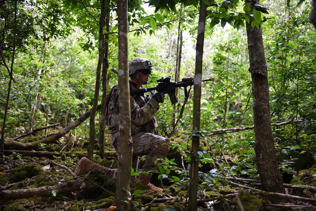 U.S. Army Sgt. Sania Leuelu, squad leader for 1st Squad, 1st Platoon, Alpha Company, 4th Battalion, 23rd Infantry Regiment, 2nd Stryker Brigade Combat Team, 2nd Infantry Division, treks through high brush during a squad live-fire exercise Nov. 18, 2016, at Andersen Air Force Base, Guam. The exercise assesses a squad's ability to navigate, communicate and apply tactical and infantrymen skills to seize a bunker. (U.S. Air Force photo by Airman 1st Class Jacob Skovo)