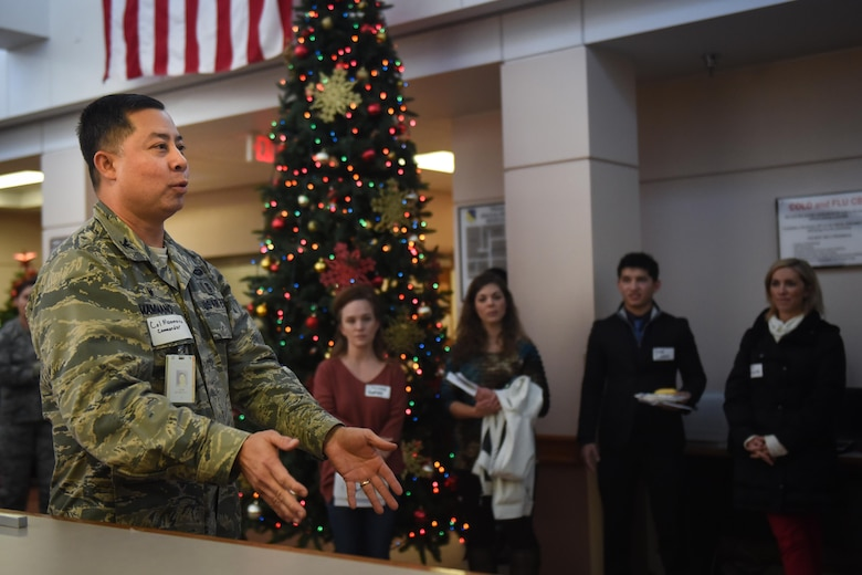 U.S. Air Force Col. John Mammano, 27th Special Operations Medical Group commander, remarks on the myriad accomplishments of Cannon's medics December 9, 2016 at Cannon Air Force Base, N.M. The medical group invited nearby healthcare providers to visit the medical group's open house, giving them the opportunity to learn more about Air Commando Medics and the community they support. (U.S. Air Force photo by Senior Airman Shelby Kay-Fantozzi/released)