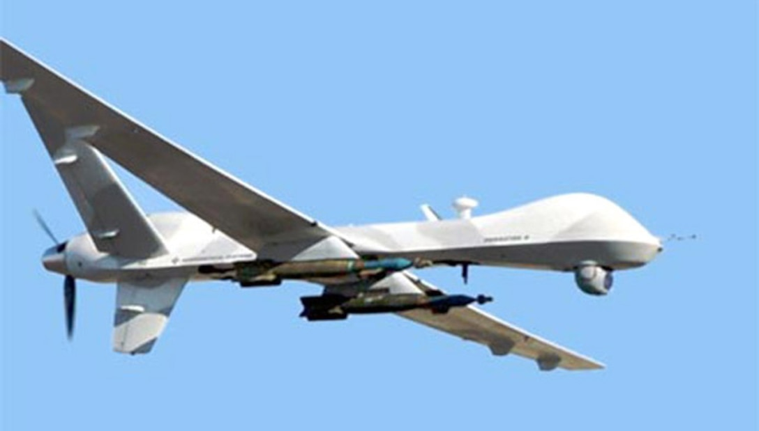 """The Reaper,"" also known as there MQ-9 unmanned aerial, is shown here on a test mission. (Courtesy photo)"