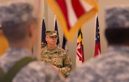 "VANCOUVER, Wash. – Deputy Commanding General of the 80th Training Command, Brig. Gen. Thomas Evans, speaks about change during deactivation ceremony for the 1st Battalion of the 413th Regiment held here on Dec. 9, 2016. ""Change is going to happen,"" said Evans. ""What matters is how you react to change."" The ceremony marks the closing of the unit as part of a larger restructuring of the 800th Logistics Support Brigade, headquartered in Mustang, Oklahoma."