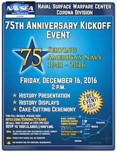 75th Anniversary NSWC Corona Kick Off Event Flyer