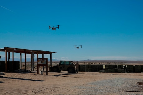 Two MV-22B Ospreys land at the Strategic Expeditionary Landing Field to deliver supplies for Marines participating in exercise Steel Knight at Marine Corps Air Ground Combat Center Twentynine Palms, Calif., Dec. 8, 2016. Steel Knight 2017 is a 1st Marine Division -led exercise that exposes Marines and Sailors to skill sets necessary to operate as a fully capable Marine air ground task force. (U.S. Marine Corps photo by PFC Timothy Shoemaker)