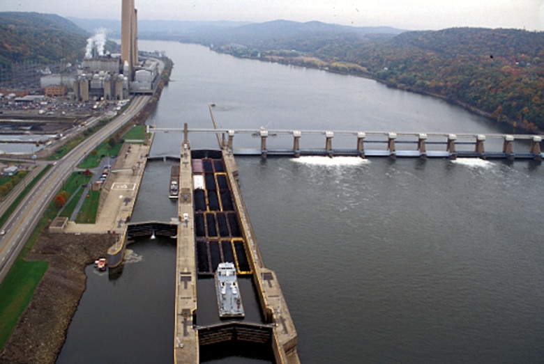The U.S. Army Corps of Engineers in Pittsburgh is alerting commercial navigation companies that operations at the New Cumberland Locks and Dam on the Ohio River, eight miles south of Wellsville, Ohio, halted after crews noticed a sheen inside the facility's main chamber.