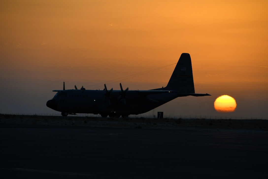 A C-130H Hercules taxis down the runway prior to takeoff at an undisclosed location in Southwest Asia Dec. 4, 2016. Some C-130s have already flown upwards of 800 hours in a single month. (U.S. Air Force photo by Senior Airman Andrew Park)